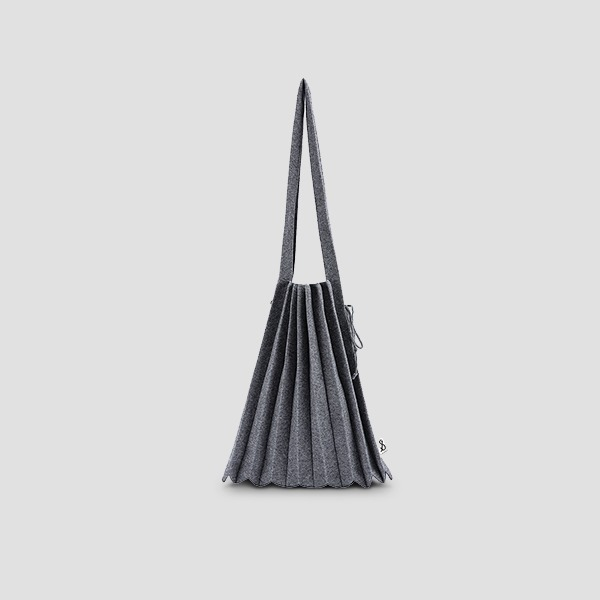Lucky Pleats Knit Warm Crossbag M  Melange Grey