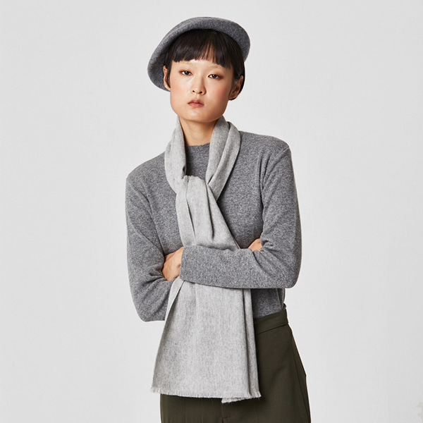 [유승호/정소민 착용] 100% Cashmere Muffler Light Grey