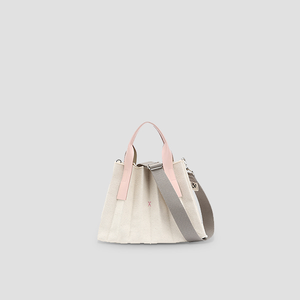 [악뮤 수현 착용]  Lucky Pleats Canvas S Ivory_Cloud Pink(+Webbing Strap)