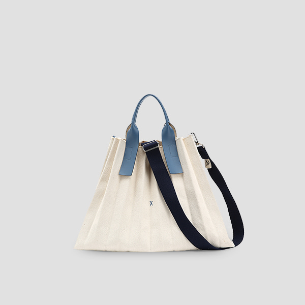 Lucky Pleats Canvas Ivory_British Blue(+Webbing Strap)