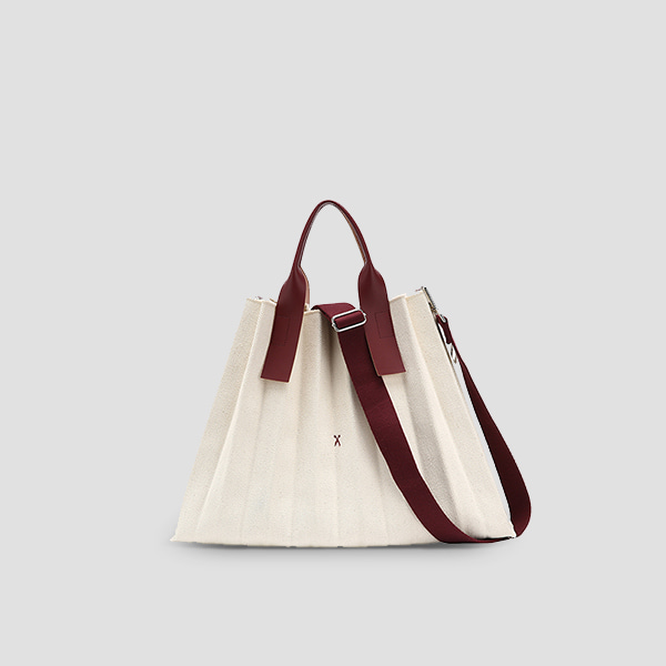 [EXID 하니 착용]  Lucky Pleats Canvas Ivory_Russet Brown(+Webbing Strap)