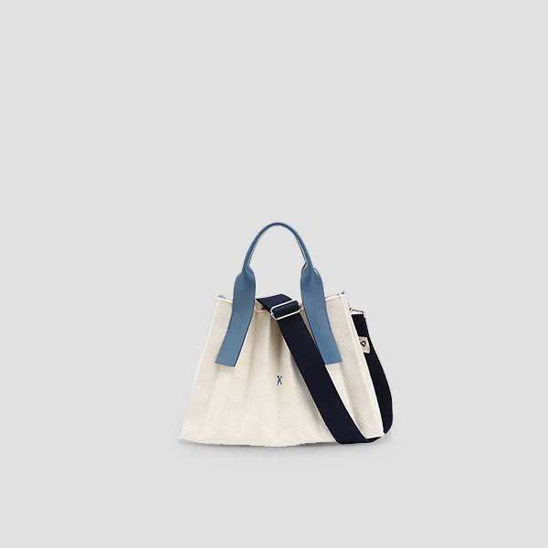 Lucky Pleats Canvas S Ivory British Blue(+Webbing Strap)