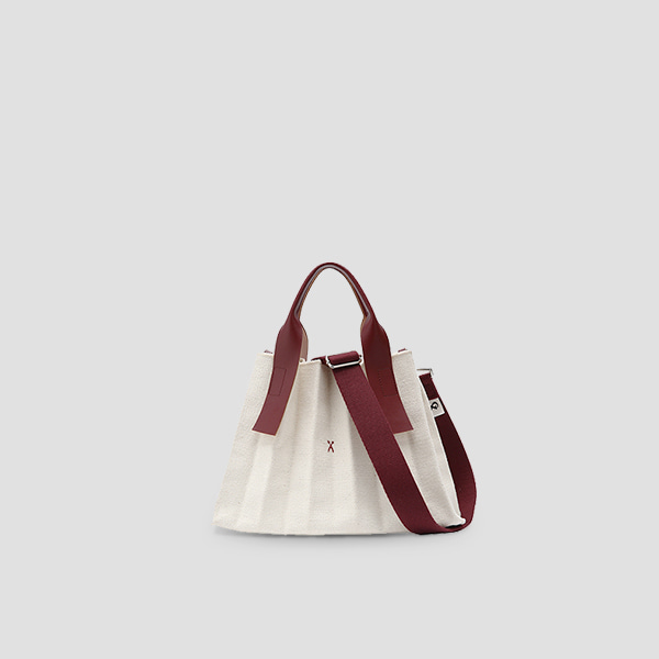 [문가영 착용]  Lucky Pleats Canvas S Ivory_Russet Brown (+Webbing Strap)