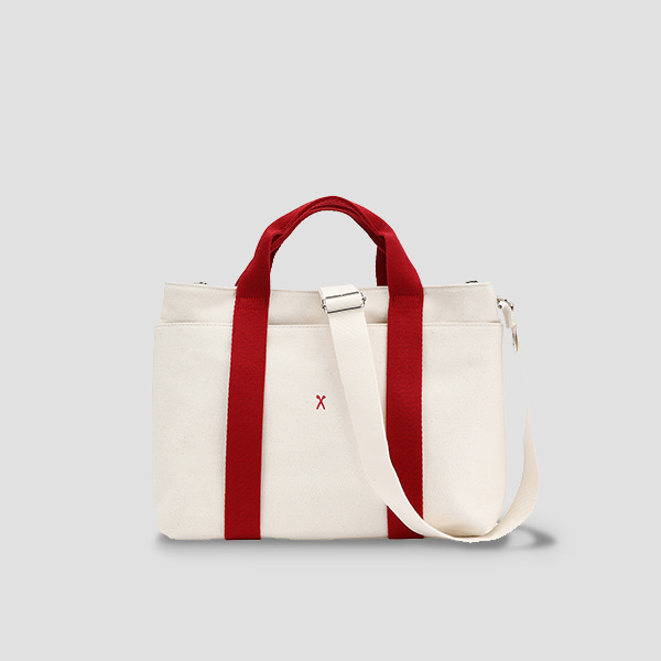 [에이프릴 나은 착용]Stacey Daytrip Tote Canvas Ivory(Red)(+Webbing Strap)