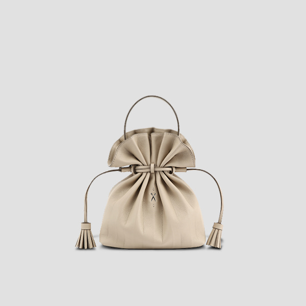 [문가영 착용]Lucky Pleats Crossbag Ecru Beige