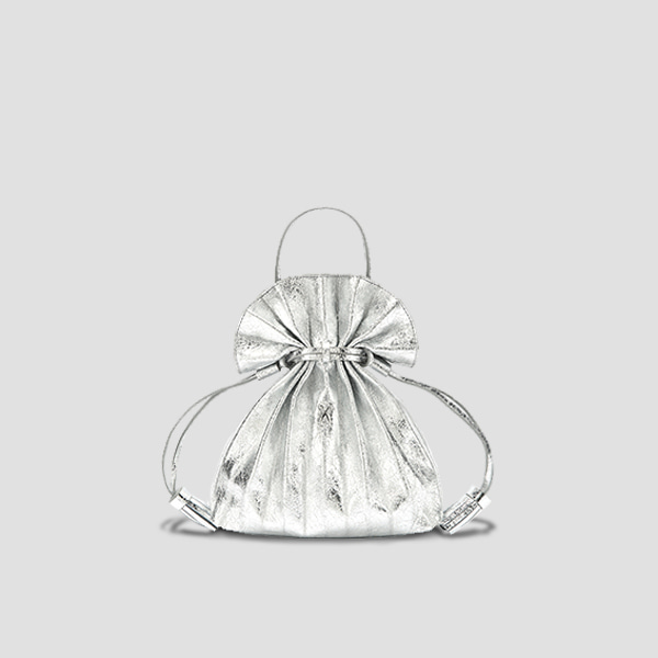 Lucky Pleats Crossbag Cracked Silver